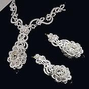 Свадебный салон handmade. Livemaster - original item The crystal ring Set wedding white lace jewelry. Handmade.