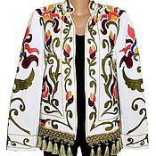 Одежда ручной работы. Ярмарка Мастеров - ручная работа Узбекский вышитый шелком национальный джакет пинджак A10180. Handmade.