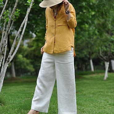 Одежда ручной работы. Ярмарка Мастеров - ручная работа Желтая стойка воротник универсальная рубашка. Handmade.