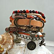 Украшения handmade. Livemaster - original item Bracelet boho-chic leather and stones