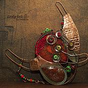 """Украшения ручной работы. Ярмарка Мастеров - ручная работа Колье """"Натюрморт. Цветы в вазе2"""" (медь, лэмпворк, яшма). Handmade."""