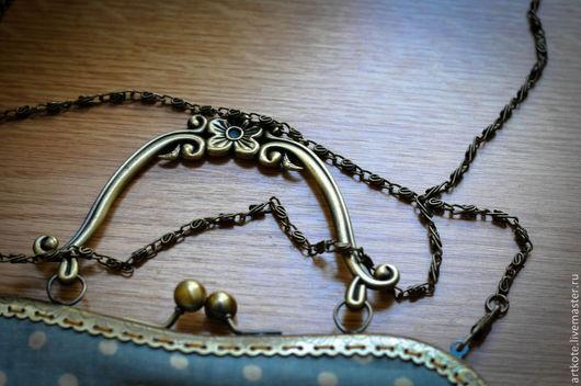 """Женские сумки ручной работы. Ярмарка Мастеров - ручная работа. Купить Дамская сумка """"Ретро"""". Handmade. Голубой, стиль, фермуар"""