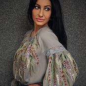 Одежда handmade. Livemaster - original item Elegant gray blouse with hand embroidery