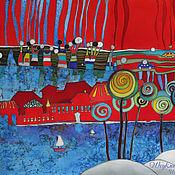 """Картины и панно ручной работы. Ярмарка Мастеров - ручная работа Батик панно """"Чудо-остров"""".. Handmade."""