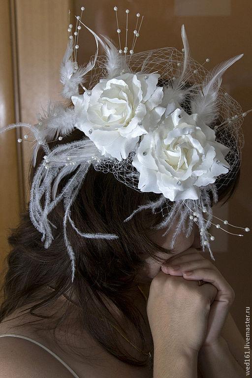 Одежда и аксессуары ручной работы. Ярмарка Мастеров - ручная работа. Купить Свадебная вуалетка Розы. Handmade. Свадьба, стразы