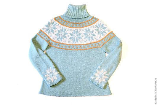 """Кофты и свитера ручной работы. Ярмарка Мастеров - ручная работа. Купить Пуловер с круглой кокеткой """"Северная звезда"""". Handmade. Голубой"""