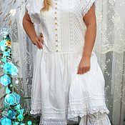 Одежда handmade. Livemaster - original item Summer cotton dress and pants. White dress.. Handmade.