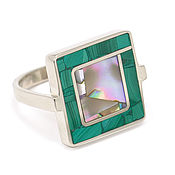 Украшения handmade. Livemaster - original item RING with malachite and mother of pearl (size 16). Ring copyright. Handmade.