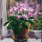 Картины и панно ручной работы. Ярмарка Мастеров - ручная работа Розовая фиалка, картина маслом. Handmade.