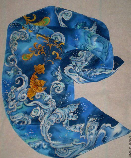 Шарфы и шарфики ручной работы. Ярмарка Мастеров - ручная работа. Купить Шарф-Батик''Золотая рыбка''(Русский сувенир-Палех). Handmade. Синий