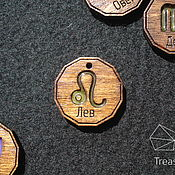 Украшения handmade. Livemaster - original item Zodiac sign Leo - medallion (pendant) of wood and resin. Handmade.