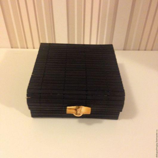 Сундучок бамбуковый черный, квадратный - заготовка для декорирования, декупажа, росписи. Упаковочная коробочка и упаковочный сундучок Декупажная радость