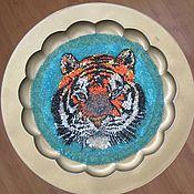 """Для дома и интерьера ручной работы. Ярмарка Мастеров - ручная работа столик с мозаикой """"Тигр"""". Handmade."""