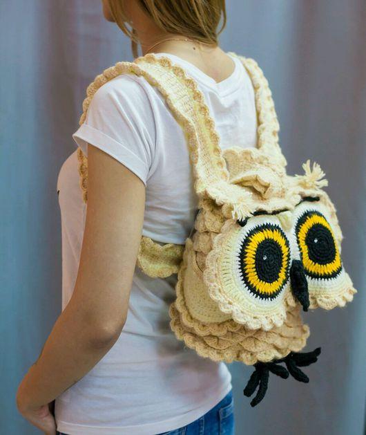 Рюкзаки ручной работы. Ярмарка Мастеров - ручная работа. Купить Вязаный рюкзак Сова. Handmade. Вязаный крючком рюкзак