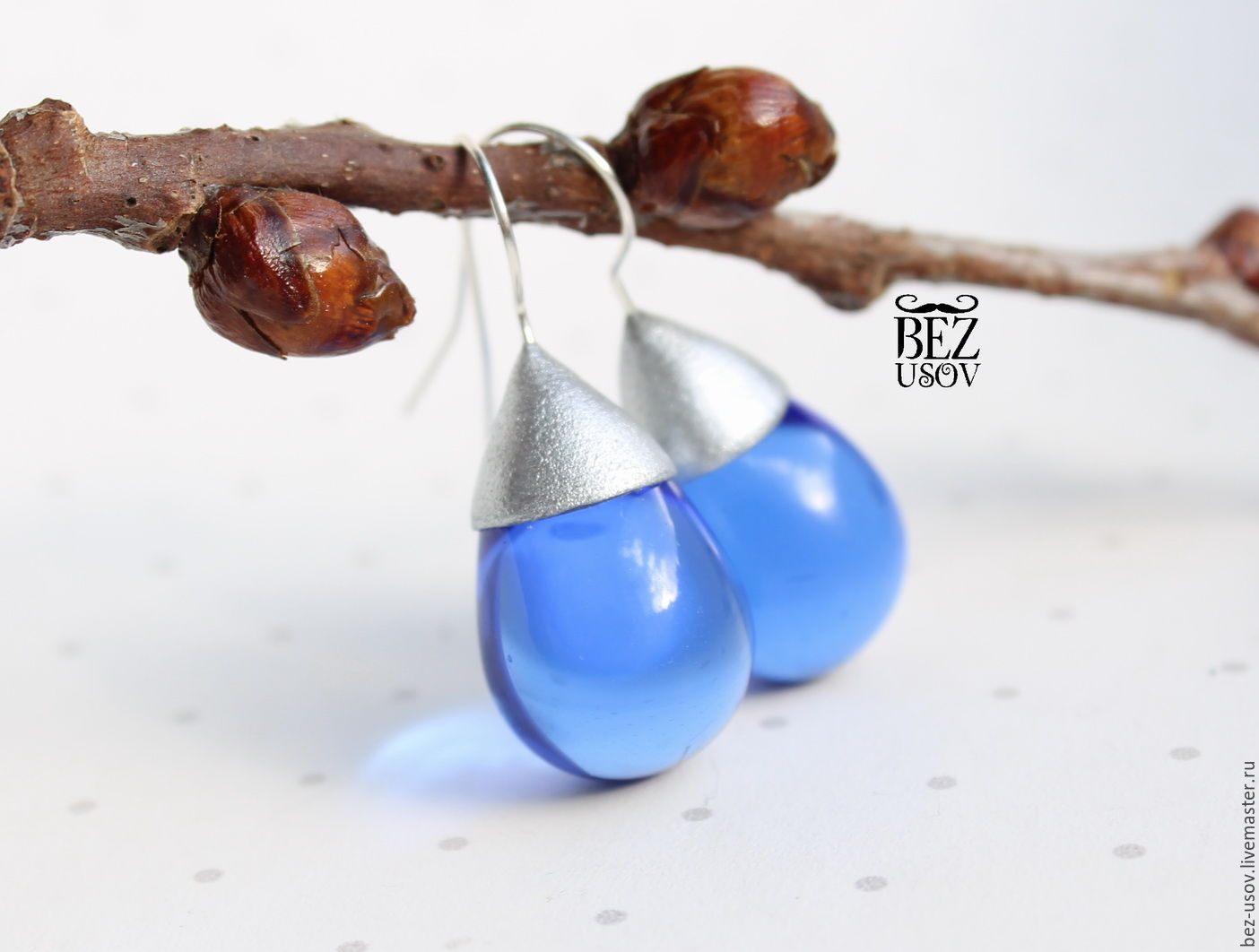 Earrings Czech glass 'Depth', Earrings, Domodedovo,  Фото №1