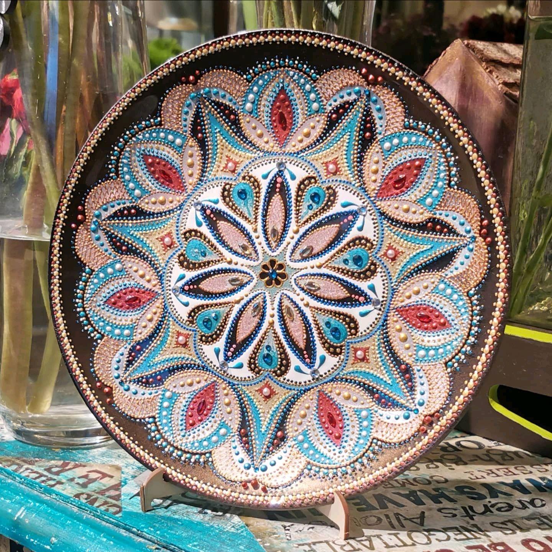 Plate decorative. Mandala in glass, 'Opening', Esoteric Mandala, St. Petersburg,  Фото №1