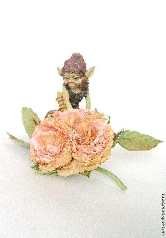 Цветы из шелка. Староанглийская роза. Брошь, Броши, Людиново, Фото №1