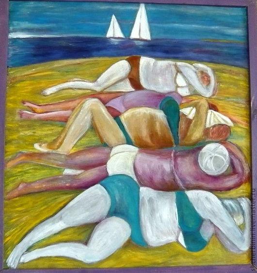 Ню ручной работы. Ярмарка Мастеров - ручная работа. Купить картина  На пляже: утомленные солнцем. Handmade. Желтый, юмор