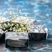 Косметика ручной работы. Ярмарка Мастеров - ручная работа ШАФРАН и КЕДР натуральное мыло с углем бамбука. Handmade.