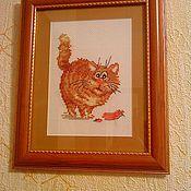 """Картины и панно ручной работы. Ярмарка Мастеров - ручная работа картина """"кот с сосиской"""". Handmade."""