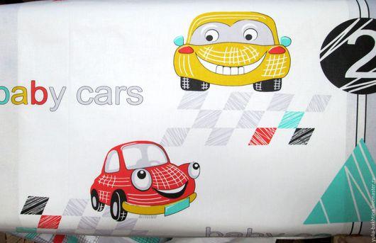Бязь `Машинки малышам` фото с ткани