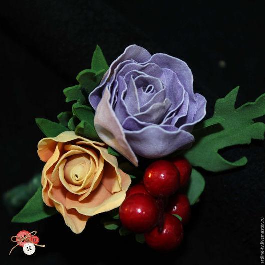 """Броши ручной работы. Ярмарка Мастеров - ручная работа. Купить Брошь из фоамирана """"Букет"""". Handmade. Комбинированный, цветы из фоамирана"""