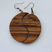Серьги классические ручной работы. Ярмарка Мастеров - ручная работа Серьги деревянные, зебрано, 5 см. Handmade.