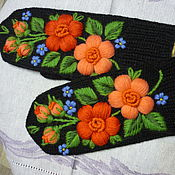 Аксессуары handmade. Livemaster - original item Mittens with hand embroidered