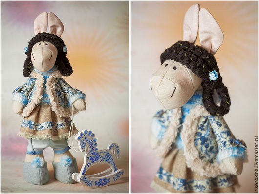 """Игрушки животные, ручной работы. Ярмарка Мастеров - ручная работа. Купить Текстильная лошадка """"Гжель"""". Handmade. Голубой, лошадь"""