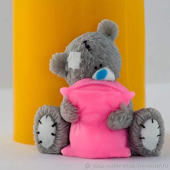 Silicone mold for soap 'Teddy with a pillow 3D', Form, Shahty,  Фото №1