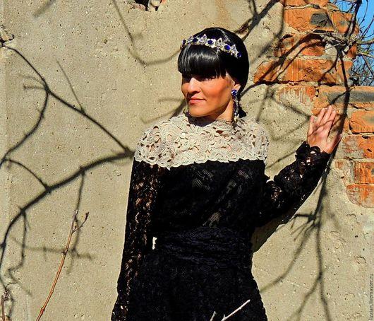 Платья ручной работы. Ярмарка Мастеров - ручная работа. Купить Ажурное черное платье (№74). Handmade. Черный, платье бохо