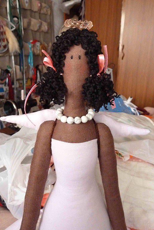Куклы Тильды ручной работы. Ярмарка Мастеров - ручная работа. Купить Ангел-фьюжн. Handmade. Розовый, негритяночка