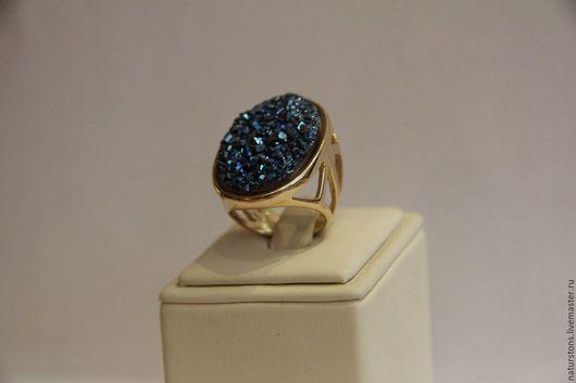 Кольца ручной работы. Ярмарка Мастеров - ручная работа. Купить кольцо с друзой  агата. Handmade. Синий, крупное кольцо