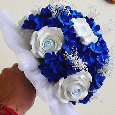 """Свадебный салон ручной работы. Ярмарка Мастеров - ручная работа Букет невесты """"Синий, синий иней"""". Handmade."""