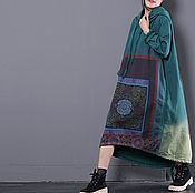 Одежда handmade. Livemaster - original item Super loose dress / hooded / green. Handmade.