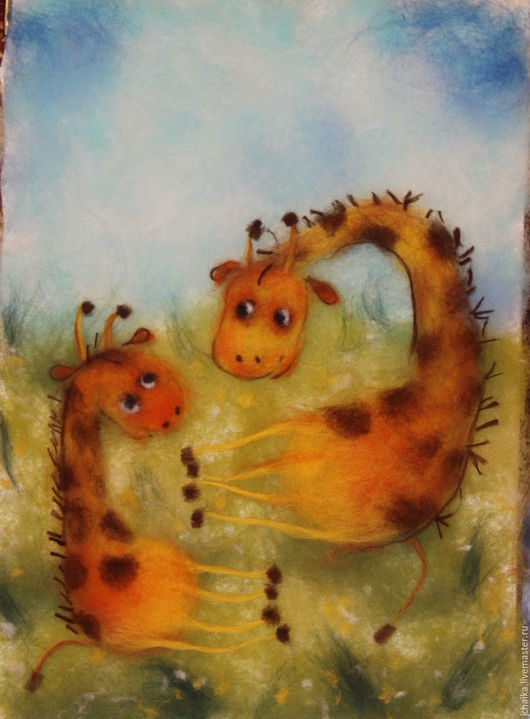 Фантазийные сюжеты ручной работы. Ярмарка Мастеров - ручная работа. Купить Жирафики. Handmade. Оранжевый, жирафы, картина из шерсти