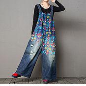 Одежда handmade. Livemaster - original item Printed jeans / pants big size. Handmade.