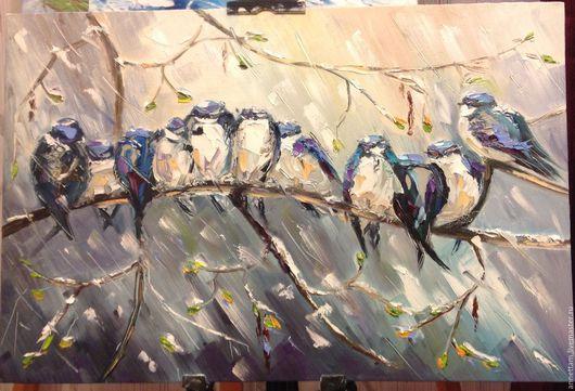 Пейзаж ручной работы. Ярмарка Мастеров - ручная работа. Купить Весенние нотки. Handmade. Голубой, весна, настроение, мелодия, птицы