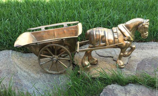 Винтажные предметы интерьера. Ярмарка Мастеров - ручная работа. Купить Каминная фигура конь с телегой Германия Бронза 4кг. Handmade.