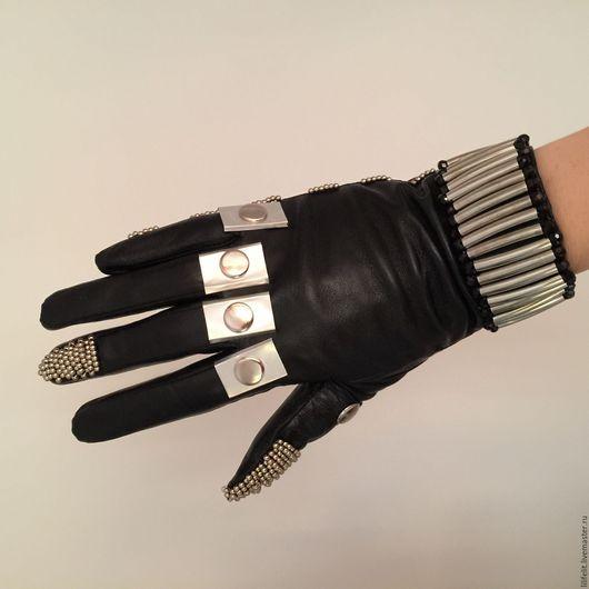 Варежки, митенки, перчатки ручной работы. Ярмарка Мастеров - ручная работа. Купить Кожаные перчатки Armor черные. Handmade. Черный