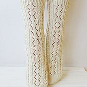 Аксессуары ручной работы. Ярмарка Мастеров - ручная работа Вязаные носки белые ажурные. Handmade.
