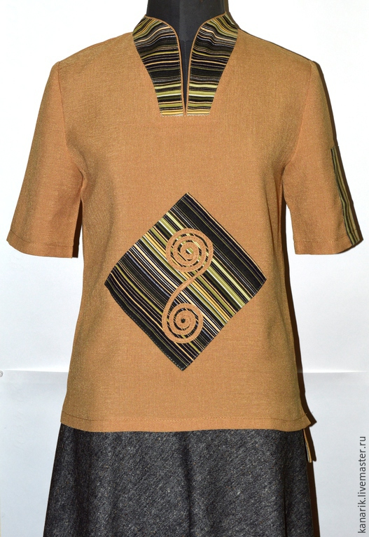 Блузки ручной работы. Ярмарка Мастеров - ручная работа. Купить Этно блузка .. Handmade. Разноцветный, этно, полулён