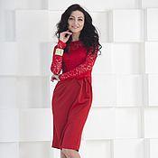 Одежда handmade. Livemaster - original item Red evening dress with lace. Handmade.