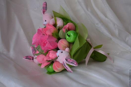 Подарки для влюбленных ручной работы. Ярмарка Мастеров - ручная работа. Купить Букет из конфет Розовый заяц. Handmade. Букет из конфет