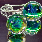 Украшения handmade. Livemaster - original item Earrings Sparkle of emeralds lampwork. Handmade.