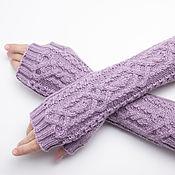 Аксессуары handmade. Livemaster - original item Knitted women`s mittens with arans made of merino wool. Handmade.