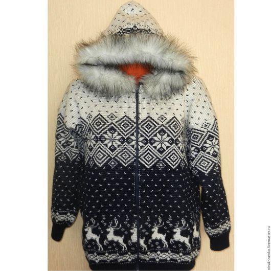 Кофты и свитера ручной работы. Ярмарка Мастеров - ручная работа. Купить Вязаная куртка Норвежский стиль, на молнии, с капюшоном. Handmade.