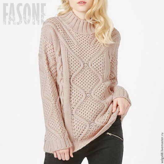 Кофты и свитера ручной работы. Ярмарка Мастеров - ручная работа. Купить Свитер розовый оверсайз свитер с косами. Свитер женский. Handmade.