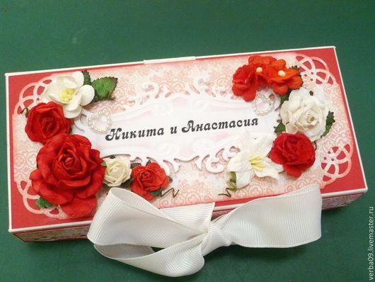 """Свадебные открытки ручной работы. Ярмарка Мастеров - ручная работа. Купить Коробочка  свадебная для денежного подарка """"Алые розы"""". Handmade."""