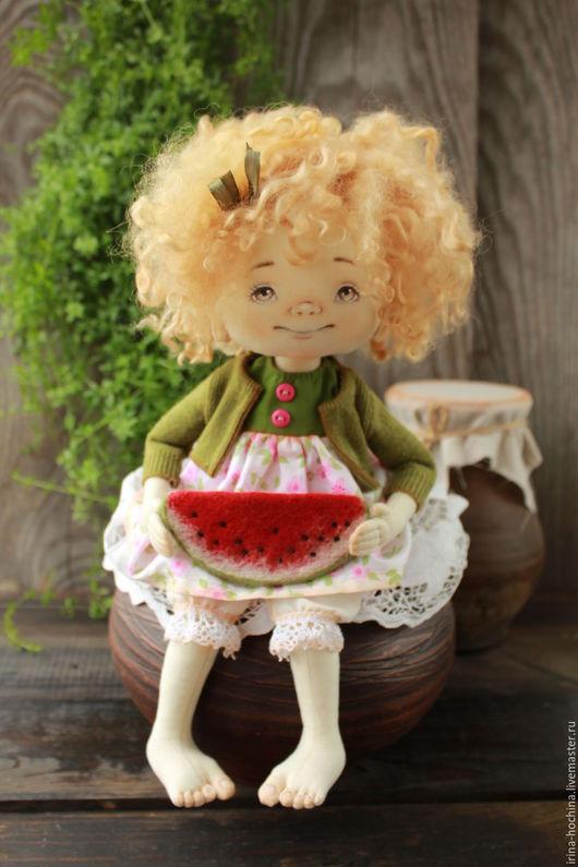 Человечки ручной работы. Ярмарка Мастеров - ручная работа. Купить Девочка с арбузиком. Handmade. Хаки, авторская ручная работа